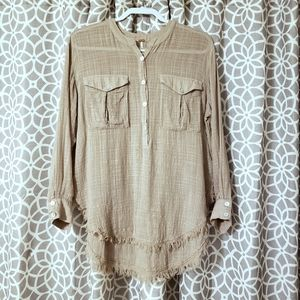 Free People Quarter Button Down Distressed Top